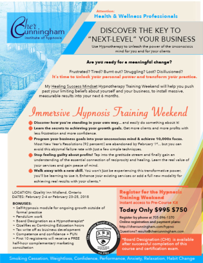 Hypnotherapy Training Weekend - Cher Cunningham Coaching